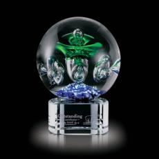 Custom Art Glass Awards Plaques & Trophies - Aquarius Award on Clear Base