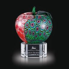 Custom Art Glass Awards Plaques & Trophies - Arcadia Apple on Clear Base