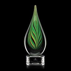 Custom Art Glass Awards Plaques & Trophies - Aquilon Award on Clear Base