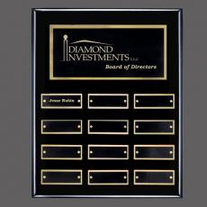 Custom Engraved Wall Plaques - Oakleigh Vert Pert/Plaque - Black/Gold with Plates