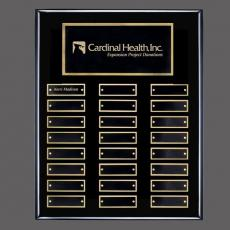 Traditional Plaques - Oakleigh Vert Pert/Plaque - Black/Gold with Plates