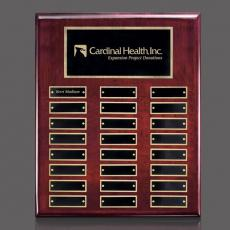 Custom Engraved Wall Plaques - Oakleigh Vert Pert/Plaque - Rosewood/Gold with Plates