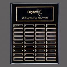 Traditional Plaques - Oakleigh Vert Pert/Plaque - Black/Gold 36 Plate