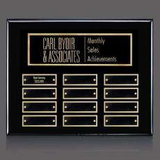 Traditional Plaques - Oakleigh Horiz Pert/Plaque - Black/Gold with Plates