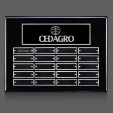 Traditional Plaques - Oakleigh Horiz Pert/Plaque - Black/Silver with Plates