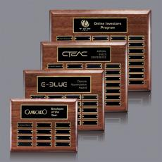Custom Engraved Wall Plaques - Carisbrooke Pert/Plaque - HG Walnut with Plates