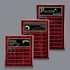 Custom Engraved Wall Plaques - Antwerp Perpetual Plaque - Cherry Finish with Plates