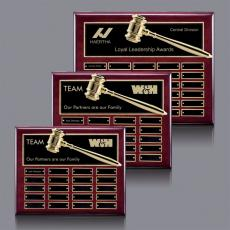 Traditional Plaques - Gavel Perpetual Plaque - Rosewood with Plates
