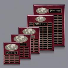 Traditional Plaques - World Perpetual Plaque (Vert) - Rosewood with Plates