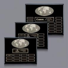 Traditional Plaques - World Perpetual Plaque (Horiz) - Black with Plates