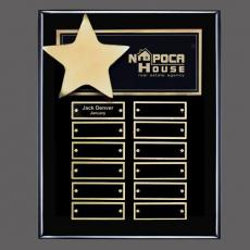 Traditional Plaques - Hollister (Vert) P/Plaque - Black/Gold with Plates