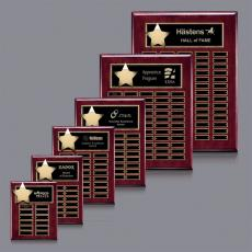 Custom Engraved Wall Plaques - Hollister (Vert) P/Plaque - Rosewood/Gold with Plates