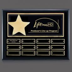 Custom Engraved Wall Plaques - Hollister (Horiz) P/Plaque - Black/Gold with Plates