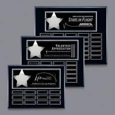Custom Engraved Wall Plaques - Hollister (Horiz) P/Plaque - Black/Silver with Plates