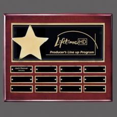 Custom Engraved Wall Plaques - Hollister (Horiz) P/Plaque - Rosewood/Gold with Plates