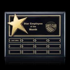 Custom Engraved Wall Plaques - Rising Star Pert/Plaque - Black/Gold with Plates