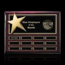 Custom Engraved Wall Plaques - Rising Star P/Plaque - Rosewood/Gold with Plates