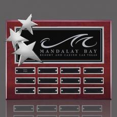 Custom Engraved Wall Plaques - Constellation P/Plaq - Rosewood/Chrome with Plates