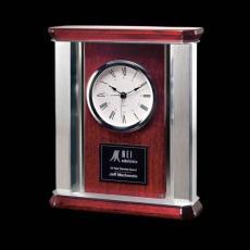 Clock Awards - Rosedale Mantle Clock - Rosewood/Alum