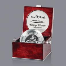 Clock Awards - Portersham Clock - Rosewood/Silver