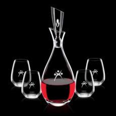 Barware - Juliette Decanter & 4 Stemless Wine