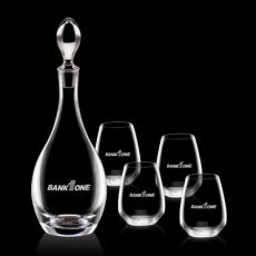 Wine Glasses - Malvern Decanter & 4 Stemless Wine