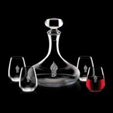 Barware - Stratford Decanter & 4 Stemless Wine