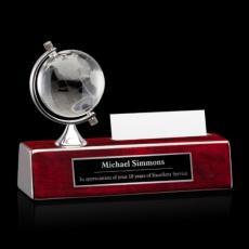 Desk Accessories - Simplex Globe/Cardholder - Optical/Rosewood