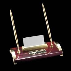 Desk Accessories - Bentley Pen/Cardholder - Rosewood/Gold