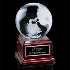 Custom-Engraved Crystal Awards - Globe on Radison - Optical/Rosewood 4""
