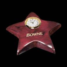 Desk Accessories - Elgin Star Paperweight/Clock - Rosewood