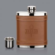 Barware - Melrose Hip Flask - Brown Leather