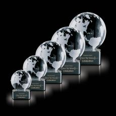 Custom-Engraved Crystal Awards - Globe on Paragon Black Base