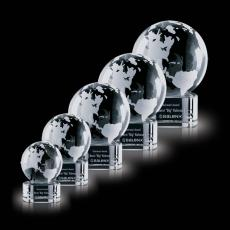 Custom-Engraved Crystal Awards - Globe on Paragon Clear Base