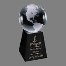 Custom-Engraved Crystal Awards - Globe on Tall Marble Base