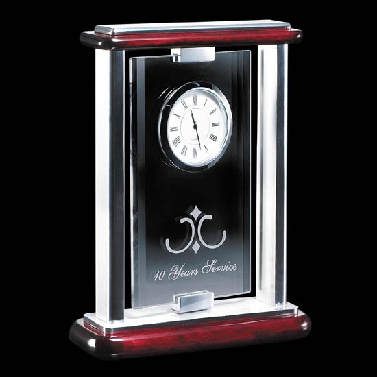 Arrowdale Clock - Rosewood/Glass