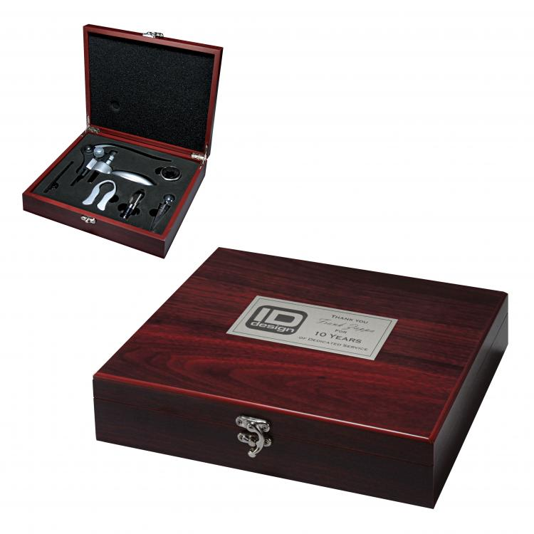 Rosewood Finish 5 Piece Wine Tool Gift Set