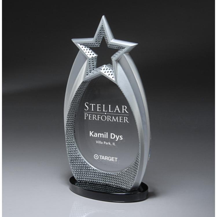 Cast Silver Star Array Award with Laser Imprint on Lucite Insert