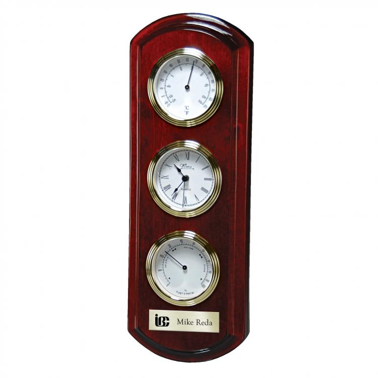 Rosewood Piano Wood Wall Clock with Thermometer & Hygrometer