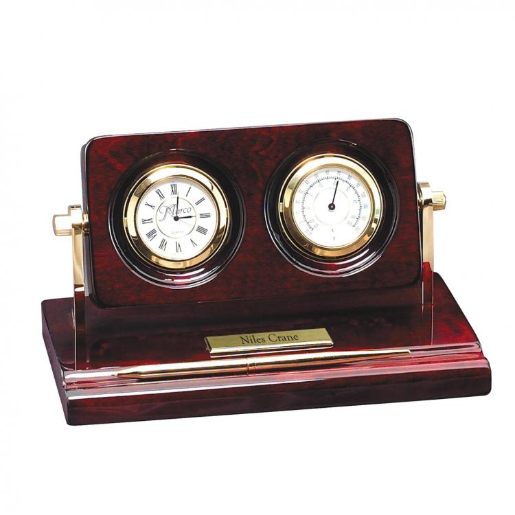 Rosewood Piano Wood Desk Clock with Thermometer & Pen