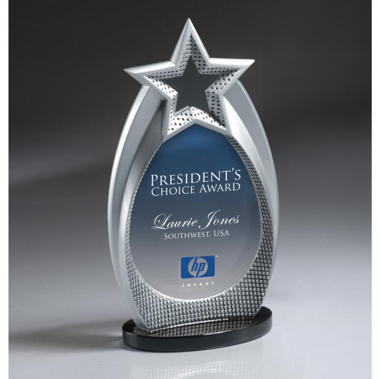 Cast Silver Star Array Award with Digi-Color Imprint on Lucite Insert