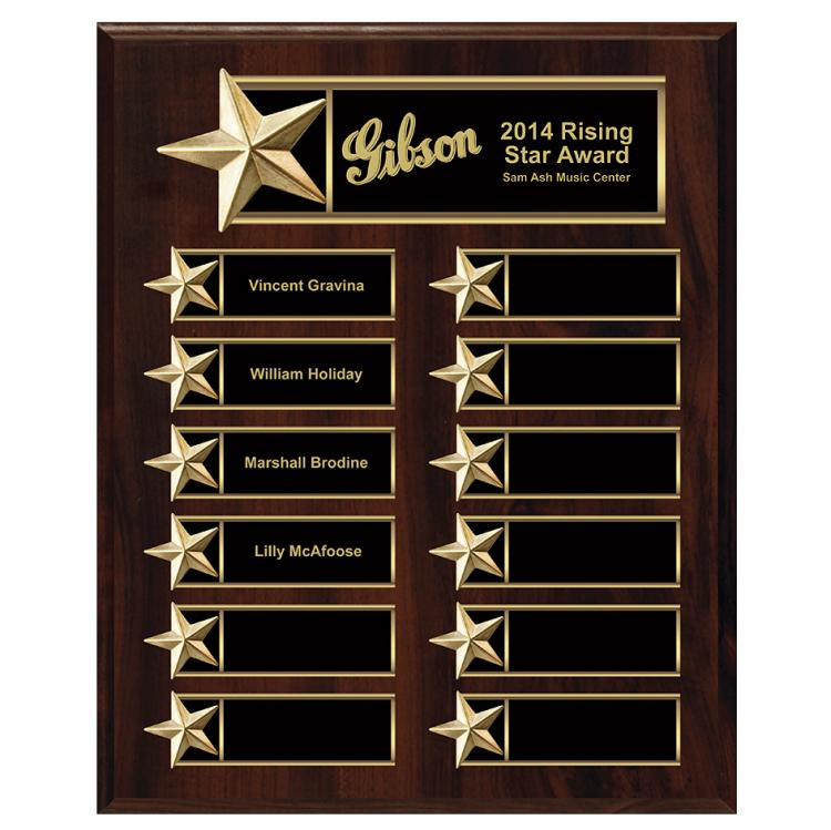 Master Plaque with Star Border on Walnut Finish