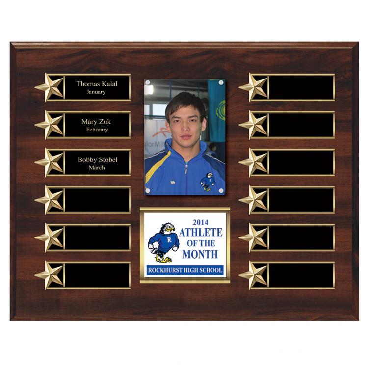 Master Plaque with Star Border on Walnut or Ebony Finish Board