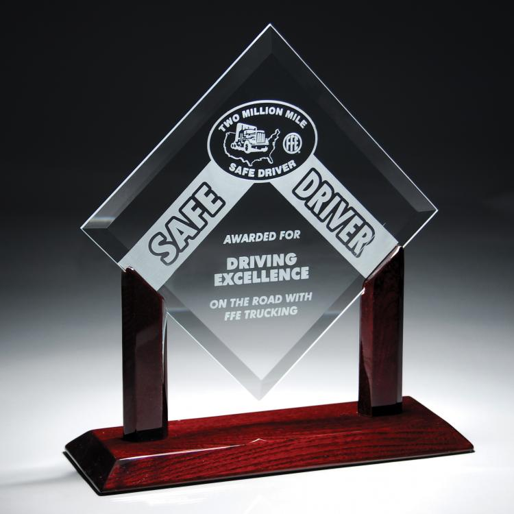 Starphire Glass Diamond Award with Rosewood Base