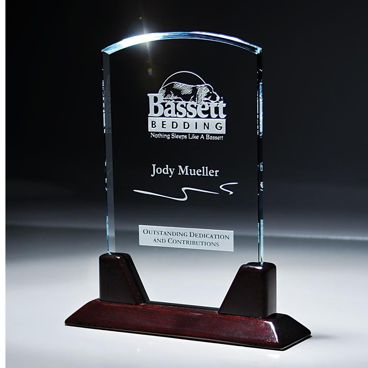 Starphire Glass Dome Award with Rosewood Base