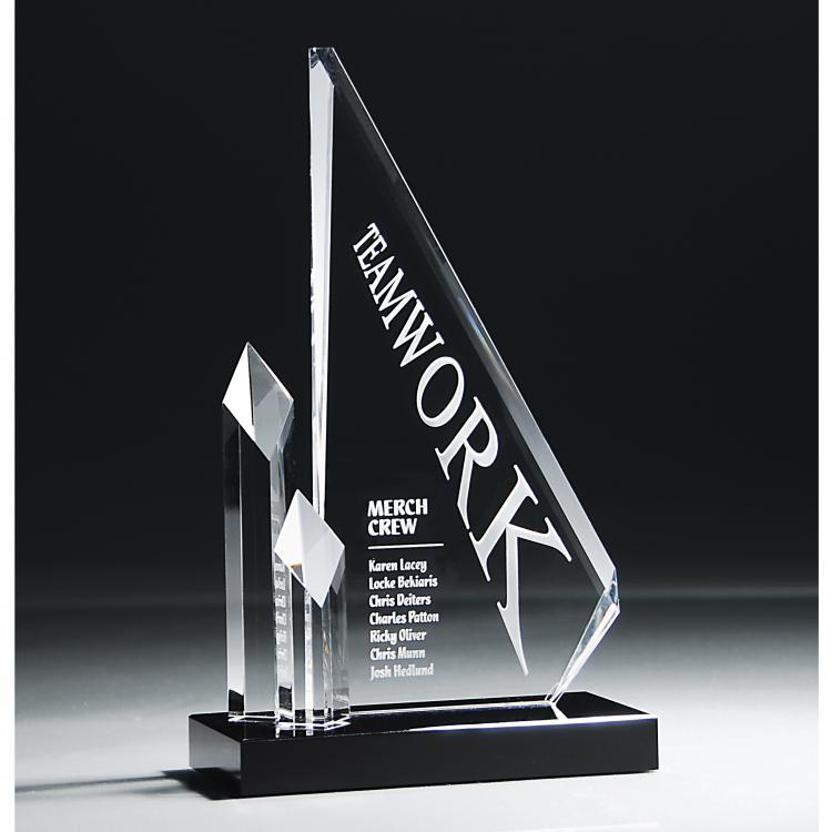 Optic Crystal Glass Cascading Spires Award