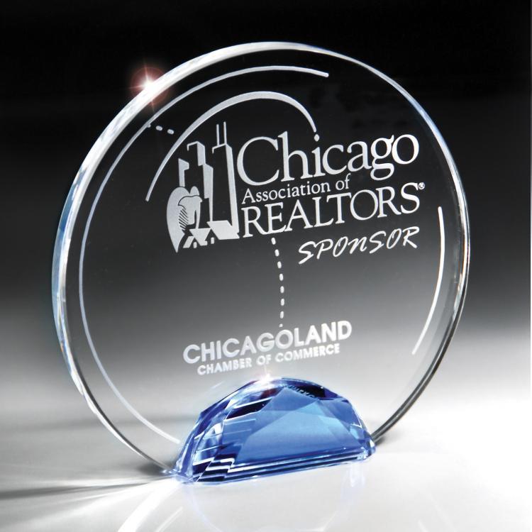 Gemstone Collection Optic Crystal Circle Award with Blue Gemstone Base