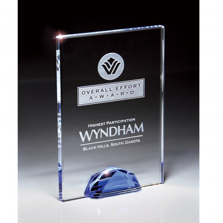 Gemstone Collection Optic Crystal Rectangle Award with Blue Gemstone Base