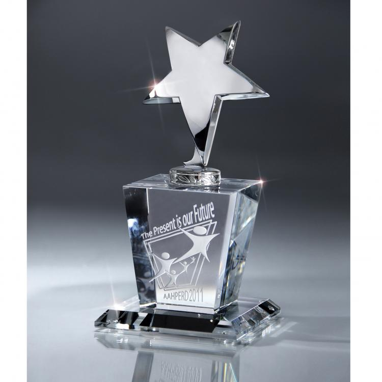 Silver Star Award with Crystal Base