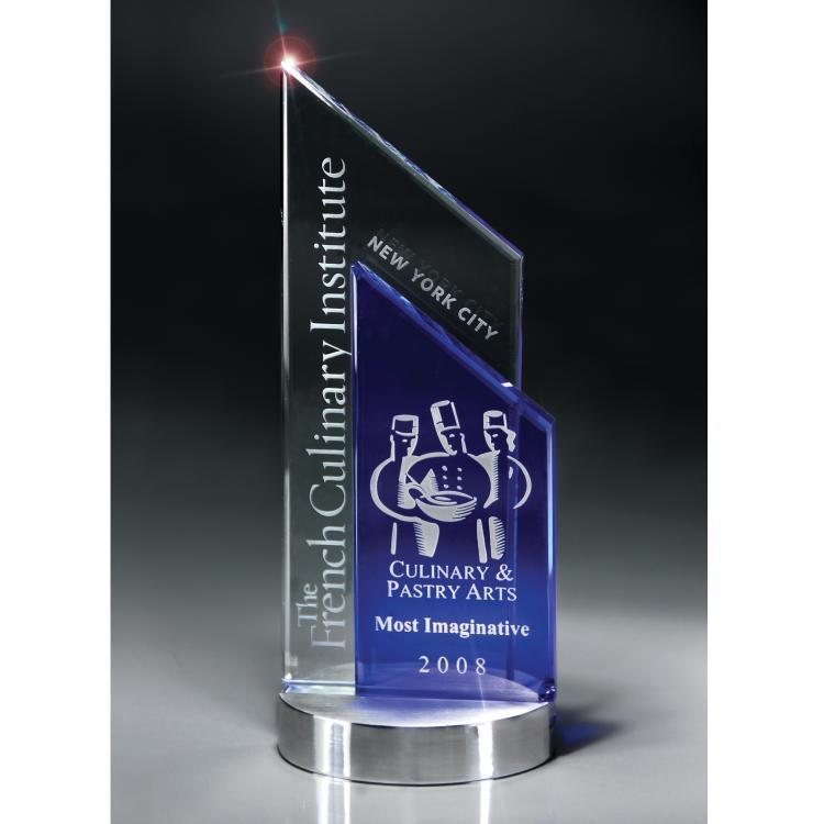 Lazurite Series Blue & Optic Crystal Peak Award on Aluminum Base